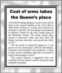 PHOTO: Newspaper cutting concerning Hackney plaque